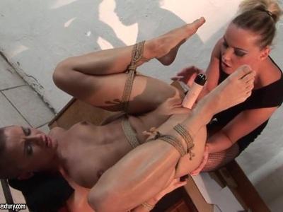 Kathia Nobili tie slim babe on table and dildo fuck