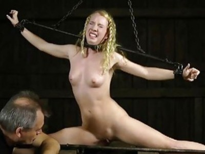 Gagged and tied up girl gets her clits gratified