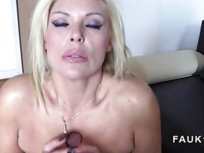 Busty blonde posing only in stockings in casting