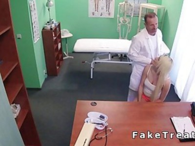 Doctor touches blonde before fucks her in fake hospital