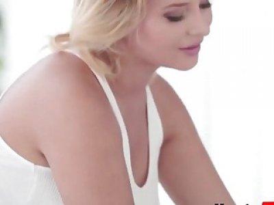A fabulous blonde masseuse Anna Polina takes client's large black penis