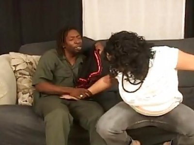 A delicious pregnant ebony tries new lingerie and gets her pussy fucked