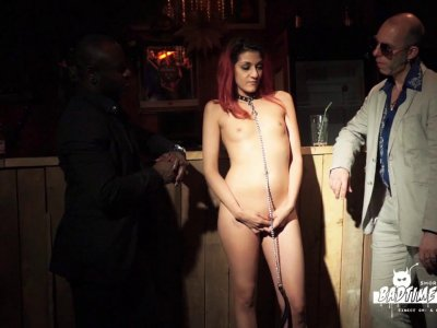 Submissive redhead chick likes being pushed around by dominant guy