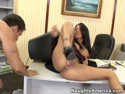 Office whore Eva Angelina sucks cock and fucks missionary style