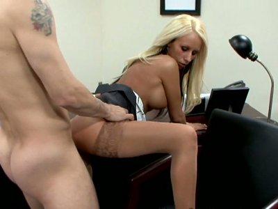 Hot secretary Kiley Hart gets fucked on the boss table
