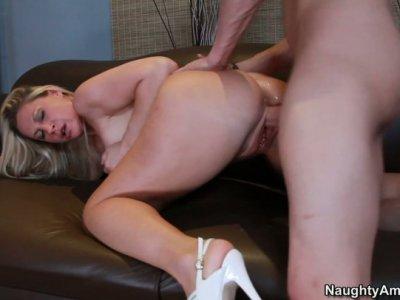 Young dude eats and fucks blonde milf Devon Lee doggy style