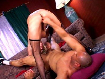 Naughty blonde Angel Long gets fucked with ebony guy