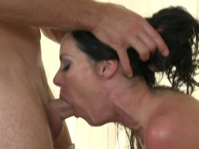 Oversexed brunette gets her pussy licked in doggy style