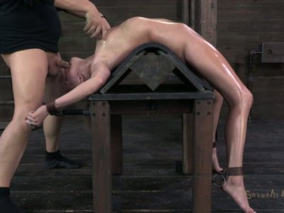 Allie James is pumped in the mouth while bending backwards