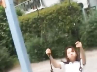 Beautiful petite schoolgirl pleases bunch of Japanese men