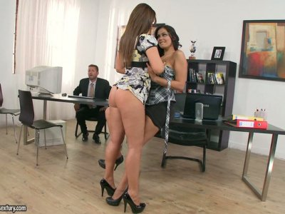 Fabulous Cipriana talks her girlfriend into seducing their colleague for threesome