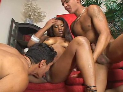 Spicy and hot exotic whore Amanda Marcal in the company of two gay men