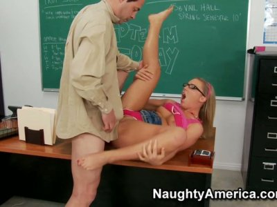 Sweet teen gal Ally Kay getting punished by her teacher and sucking his dick hard