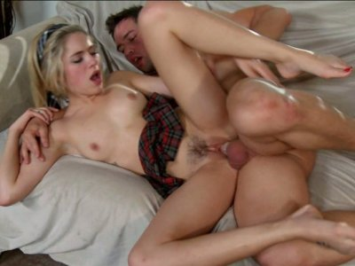 Sporty blonde Lia Lor trains her pussy with hard cock