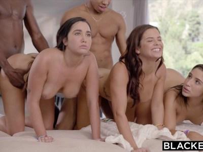 Young pornstars share black cocks