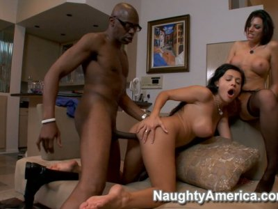 Aletta Ocean & Juelz Ventura playing with giant black cock