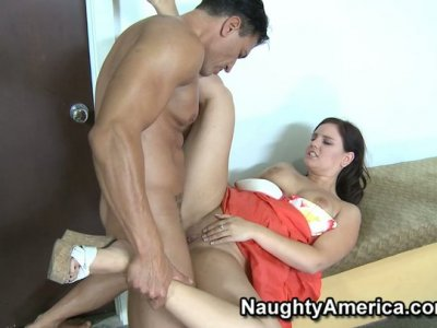 Curvy Michelle Brown is fucked on the coach