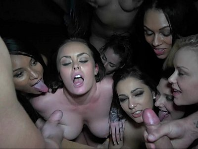 Horny Dancers Gather Around to Taste Some Fresh Cum