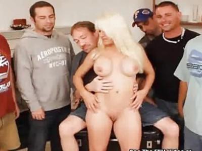 Horny Blonde MILF Slag Gang Bang Bukkake