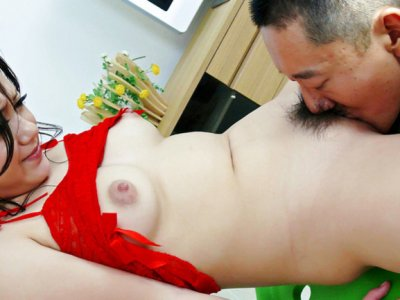 Rui Natsukawa in red lingerie used by three guys